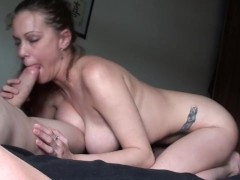 Kneeling On The Bed, Sucking My BF's Huge Hard Cock, Rubbing Cum On My DDDs
