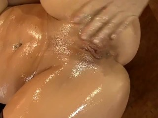 Oiled up babe fucking and deep throating in fishnet thigh high stockings