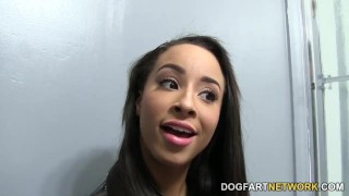 Teanna Trump Gets Creampied At A Glory Hole  interracial dogfartnetwork glory hole natural tits round ass gloryhole fuck ebony babe ebony black blowjob fetish gloryhole