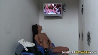 Teanna Trump Gets Creampied At A Glory Hole  interracial dogfartnetwork glory hole natural tits ebony babe round ass gloryhole fuck ebony black blowjob fetish gloryhole