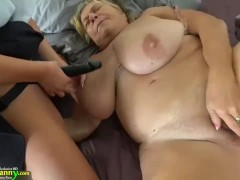 Young girl with strapon fucks fat old...