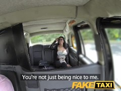 FakeTaxi Spanish brunette with shaved pussy