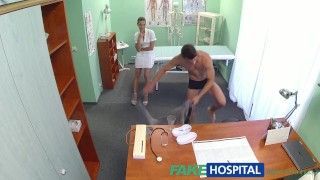 FakeHospital Hot nurse massages patient before sucking and fucking him  spy cam spying nurse sexy slim amateur voyeur small tits pov real brunette reality czech cream pie hospital exam patient hidden cameras