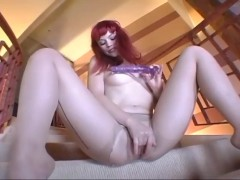 Skinny cutie on the stairs masturbating in sheer crotchless pantyhose