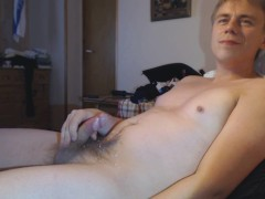 Horny guy masturbates, moans and cums in an intense orgasm