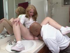 Tiny Blonde Teen Fucks Huge Cock