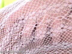 Natural titted babe Suzie playing with sticky fingers in lace stockings