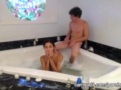 amazing amateur camgirl fucks some dude in a jacuzzi after masturbating