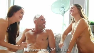 Passion-HD - Abby Cross gives man threesome surprise