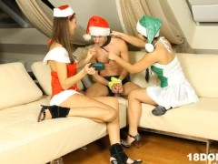 Christmas threesome with 2 femdom teens