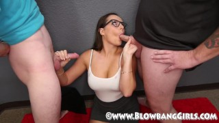 Preview 4 of Newbies 2nd Blowbang she takes cum from 8 guys!