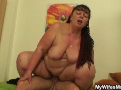 Plump mother inlaw riding his dick