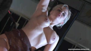 Awesome blonde fingered by the crowd