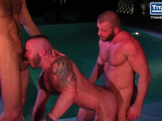 Hairy Hunks Spitroast Inked Muscle Stud Poolside