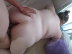 hot Wife getting fucked by landlord to pay the rent, cum inside pussy