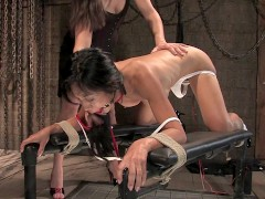 Hot Asian babe gets her tits shocked by Bobbi Starr