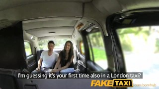 Preview 1 of FakeTaxi Spanish couple have hot sex in back of taxi
