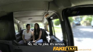 Preview 2 of FakeTaxi Spanish couple have hot sex in back of taxi