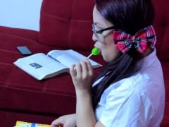Horny School Girl gives Intruder Lollipop Blowjob