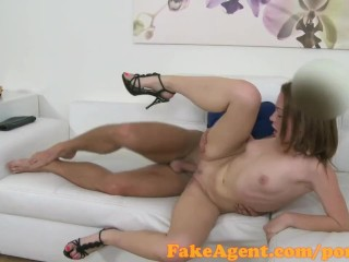 FakeAgent 19 year old babe sucks and fucks in casting