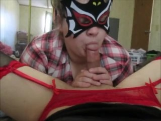 Me giving my sexy crossdresser husband a blowjob and kissing his legs,balls