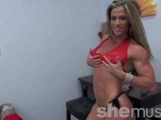 Sexy muscular Latina Maria G in barely there lingerie