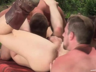 RagingStallion Threesome At The Porn Camp