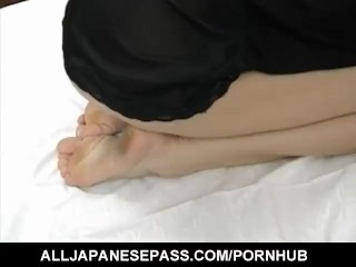 Sakura Kitazawa licks dong and is pumped by it and with sex toy