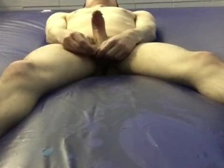 jerk-off & cum on a water bed