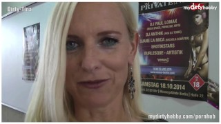 German Blond MILF Dirty-Tina after Venus Party  party old mom amateur blowjob blond milf young reality german european mother deutsch mydirtyhobby