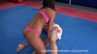 Melanie Memphis chases guy around tatami to ballbust him  mixed wrestling dominatrix slave cuckolding bdsm cuckold facesitting femdom fetish kink joi mistress female domination wrestling humiliate melanie memphis