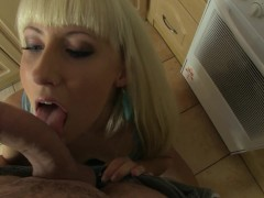 Hot blonde girlfriend wants to fuck in the kitchen