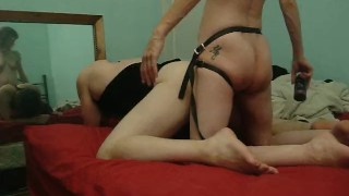 Strapon Reflection  milf kink mother strap on ass fuck amateur wife pegging strapon femdom mom