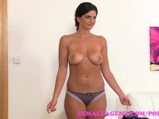 FemaleAgent Busty make up artist gets agent wet and honry