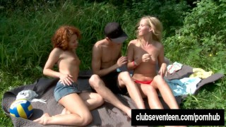 Sexy teens gets facialized outdoors  teen big-cock outdoors cock-sucking clubseventeen redhead russian blonde public young hardcore 3some babes threesome small-tits teenager facial