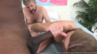 April Brookes Worked By Black Cock While Cuckolding Her Husband  big cock masturbation cuckold wife husband blonde blowjob cumshot bisexual cumeatingcuckolds interracial bull 3some threesome tattoos cum eating