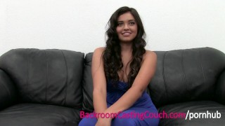 Squirting Anal Loving Teen Cums on Casting Couch  ass fuck doggy style creampie audition amateur casting young 18 squirting cock sucking brunette anal orgasm teenager backroomcastingcouch agent