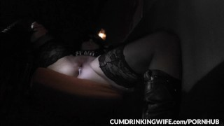 Slutwife is servicing strangers at gloryholes and adult theaters  doggy style creampie cuckold wife amateur gloryhole milf cumshots cock sucking brunette glory hole swingers cumdrinkingwife