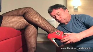 Thick ebony mistress takes a licking from an old guy  high heels lingerie face sitting glasses booty ebony femdom fishnet amateur kink shesboss feet pussy licking