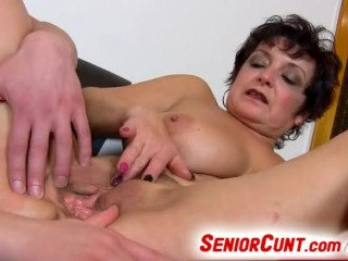 Old cunt on close-ups dirty pussy spreading with lady Greta