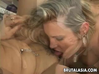 Annie and her slutty friend fuck the dude hard