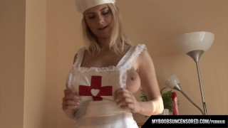 Busty nurse Katrina masturbates with dildo on the table