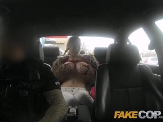 Fake Cop Busty blonde fucked in junk yard