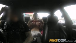Double blowjob in fur coat inside a limo