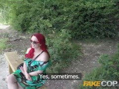 Fake Cop Public sex loving policeman fucks redhead in the bush