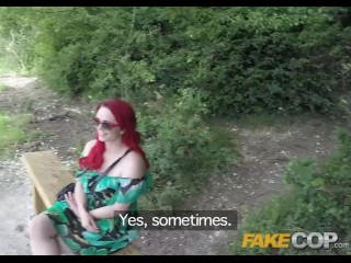 Fake Cop Public sex loving policeman fucks redhead in the bush