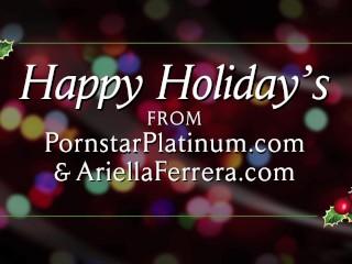 Ariella Ferrera gives happy holidays POV blowjob
