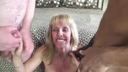 Double Creampie and Cumshot In Mouth – She Gets First Load In Her Pussy Then Second Guy Scoops Up Some Cum Rubs It On His Cock For Lube Then Fucks The Sloppy Seconds – Amateur Blonde MILF Carol Cox Interracial Homemade Fucking