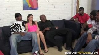 Brooklyn Chase's First Interracial Gangbang  interracial hardcore dogfartnetwork brunette gangbang groupsex bbc doggy-style blowjob