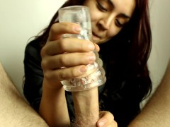 Daisy tests out new toy on bf's cock